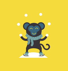 Cute monkey logo logo design vector