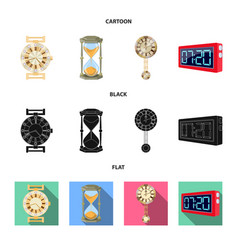 design of clock and time sign set of clock vector image