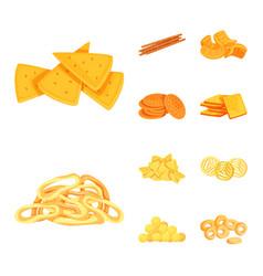 Design of food and crunchy symbol set of vector