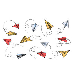 doodle paper plane hand drawn colorful airplane vector image