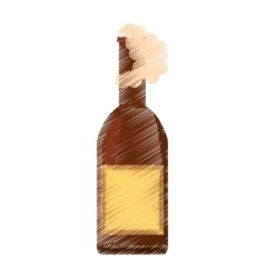 drawing beer bottle drink foam vector image