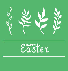 Easter greeting card with willow and palm branches vector