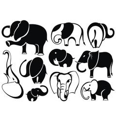 Elephant set silhouette vector