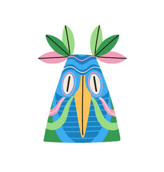 ethnic tribal bird mask with huge eyes and beak vector image