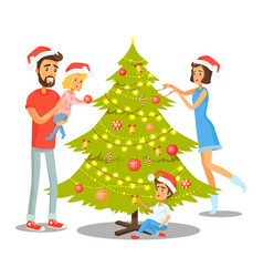 Family decorating tree vector