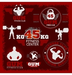 Fitness bodybuilding vintage label for flayer vector image vector image