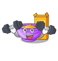 Fitness cereal box in a cartoon bowl vector