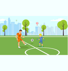 flat dad teaches kid play football in park vector image