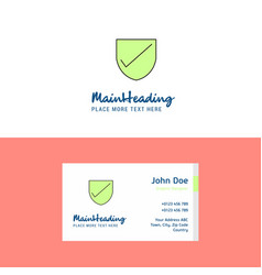 Flat sheild logo and visiting card template vector