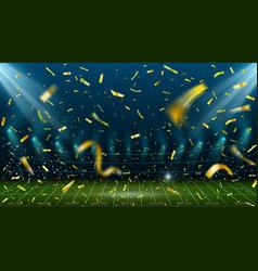 football stadium with golden confetti landscape vector image