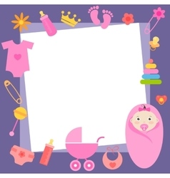 frame with baby girl elements vector image