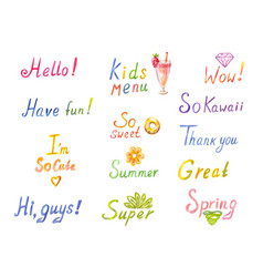Funny inscriptions in watercolor words hello vector