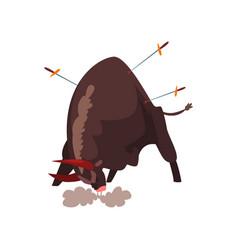 Furious black bull pierced by swords bullfighting vector