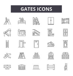 gates line icons signs set outline vector image