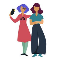 girlfriends friends taking selfie on smartphone vector image