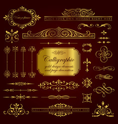 gold calligraphic and page decoration elements vector image