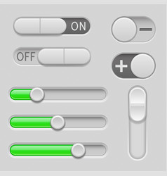 gray and green web buttons push buttons vector image