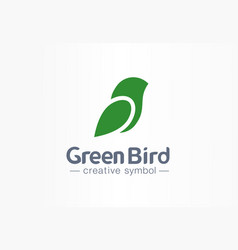 green bird creative eco symbol concept nature vector image