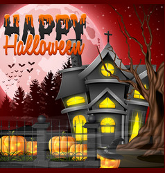 Halloween night with church and scary pumpkins vector