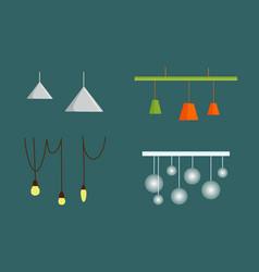 hanging from ceiling lamps with wire flat vector image