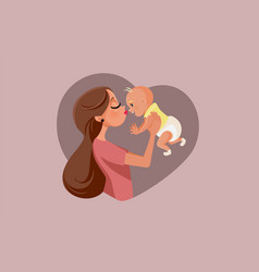 happy mother holding playful bacartoon vector image