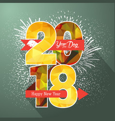 happy new year 2018 label badge and fireworks vector image