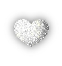 heart silver glitter isoleted on white background vector image