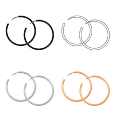 hoop earrings icon in cartoon style isolated on vector image