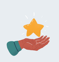 human hand holding star on vector image