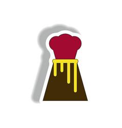 In sticker design of volcano vector