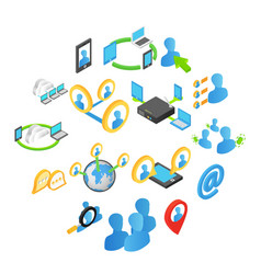 internet isometric 3d icons set vector image