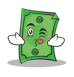 Kissing face dollar character cartoon style vector