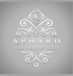 letter a logo - classic luxurious silver vector image