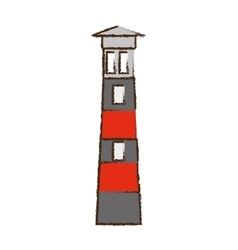 Lighthouse building sea color sketch vector