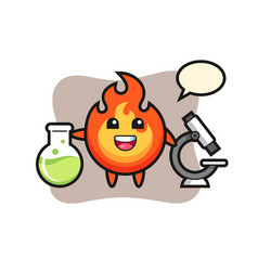 Mascot character fire as a scientist vector