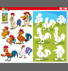 Matching shapes game with cartoon rooster vector