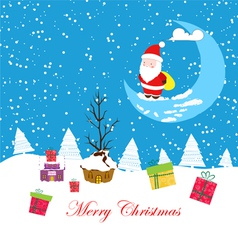 Merry christmas card with santaclaus and gift 2 vector