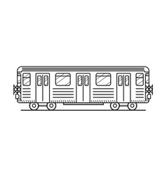Metro train black and white vector