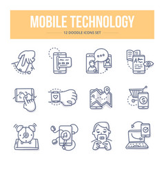 Mobile technology doodle icons vector