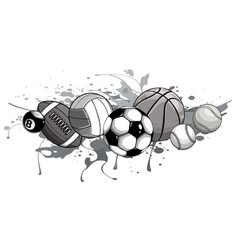 monochromatic sport balls on water background vector image