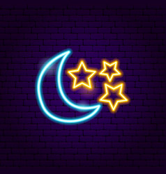 Moon star neon sign vector