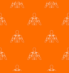 Muscular man with tattoo pattern seamless vector