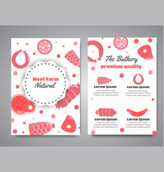 Newsletter with meat products flat meat farm vector