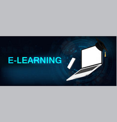 Online education banner with laptop and smartphone vector
