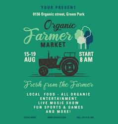 organic farmer market flyer a4 format locally vector image