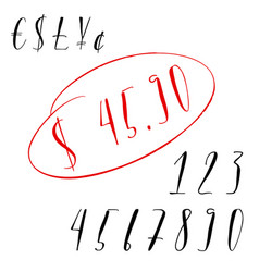 Pen lettering numbers and currency symbols vector
