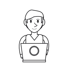 Pictogram young man working laptop design vector