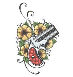 Pocket handgun with flowers tattoo vector