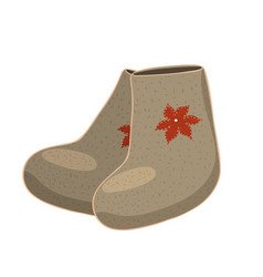 Russian felt boots isolated on white background vector