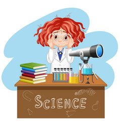 sad girl working in science lab vector image